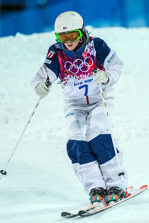 . KRASNAYA POLYANA, RUSSIA  - JANUARY 8: Eliza Outtrim competes in the Ladies\' Moguls Finals at Rosa Khutor Extreme Park during the 2014 Sochi Olympic Games Saturday February 8, 2014. Justine Dufour-Lapointe won gold with a score of 22.44. Her sister Chloe Dufour-Lapointe won the silver with a score of 21.66. Hannah Kearney, of USA, won bronze with a score of 21.49. (Photo by Chris Detrick/The Salt Lake Tribune)