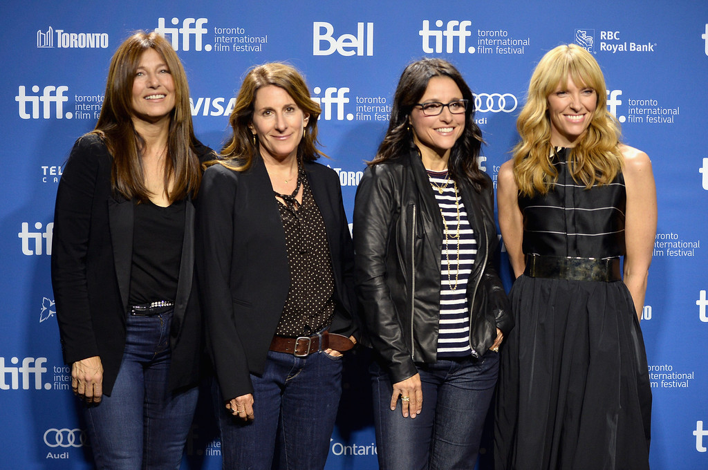 """. (L-R) Actress Catherine Keener, director Nicole Holofcener, actress Julia Louis-Dreyfus and actress Toni Collette attend \""""Enough Said\"""" Press Conference during the 2013 Toronto International Film Festival at TIFF Bell Lightbox on September 8, 2013 in Toronto, Canada.  (Photo by Alberto E. Rodriguez/Getty Images)"""