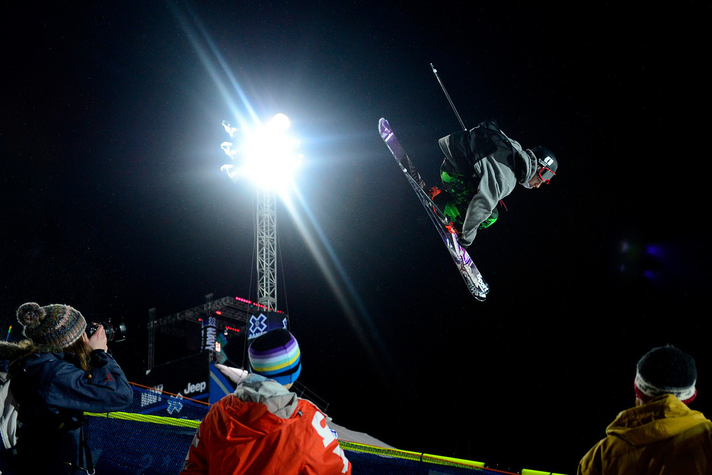 . ASPEN, CO. - JANUARY 24: Torin Yater-Wallace grabs air during the men\'s ski superpipe final. X Games Aspen Buettermilk Mountain Aspen January 25, 2013 (Photo By AAron Ontiveroz / The Denver Post)