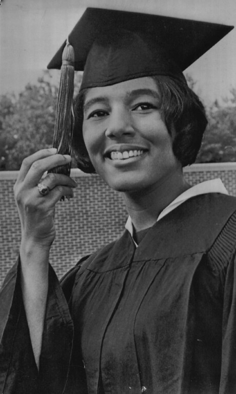 . Vivian Malone is shown in her cap and gown that she will wear at the University of Alabama graduation on May 30, 1965. (Denver Post Archive)
