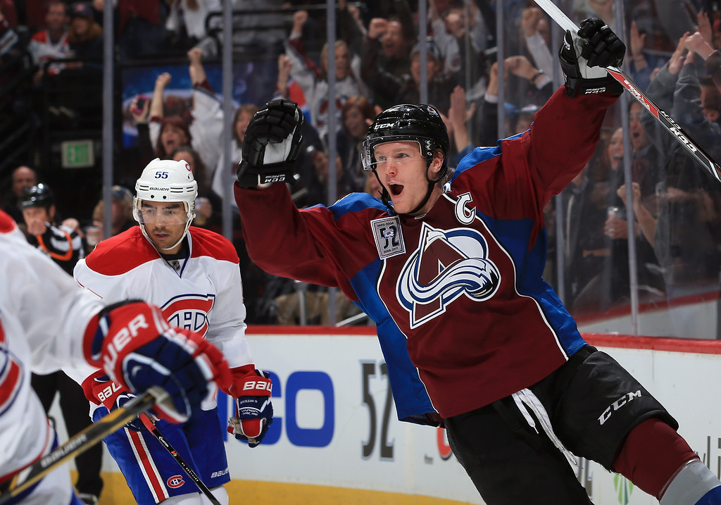 . DENVER, CO - NOVEMBER 02:  Gabriel Landeskog #92 of the Colorado Avalanche celebrates his goal against the Montreal Canadiens to give the Avalanche a 1-0 lead in the second period at Pepsi Center on November 2, 2013 in Denver, Colorado.  (Photo by Doug Pensinger/Getty Images)