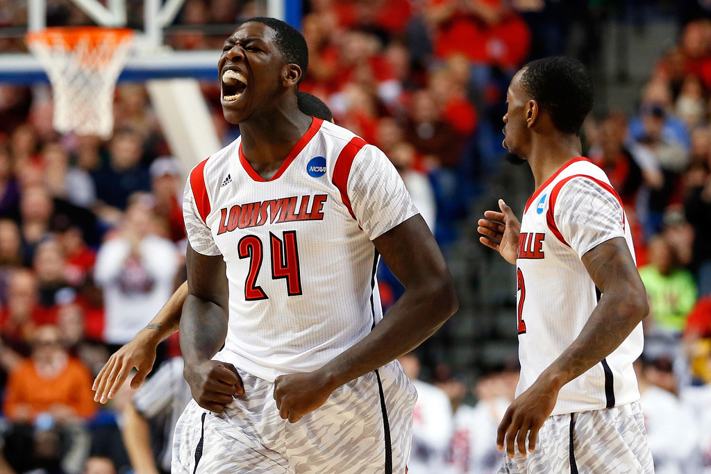. LEXINGTON, KY - MARCH 21:  Montrezl Harrell #24 of the Louisville Cardinals reacts after a turnover against the North Carolina A&T Aggies during the second round of the 2013 NCAA Men\'s Basketball Tournament at the Rupp Arena on March 21, 2013 in Lexington, Kentucky.  (Photo by Kevin C. Cox/Getty Images)