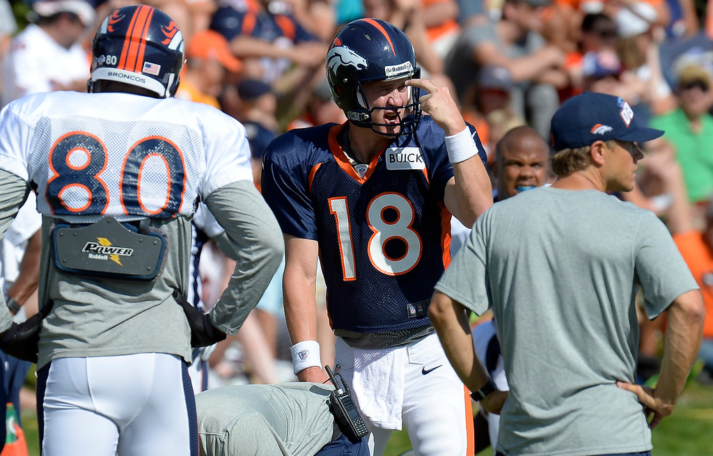 . Denver Broncos QB Peyton Manning (18) calls out the play to the receivers during training camp August 6, 2013 at Dove Valley. (Photo By John Leyba/The Denver Post)