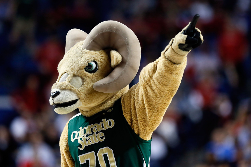 . LEXINGTON, KY - MARCH 21:  The Colorado State Rams mascot performs during the second round of the 2013 NCAA Men\'s Basketball Tournament at the Rupp Arena on March 21, 2013 in Lexington, Kentucky.  (Photo by Kevin C. Cox/Getty Images)