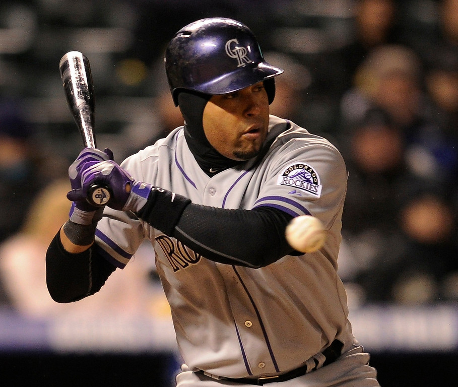 . DENVER, CO. - APRIL 16:  Rockies batter Yorvit Torrealba passed on a elbow-high pitch in the fourth inning. The Colorado Rockies hosted the New York Mets in the second game of a doubleheader Tuesday night, April 16, 2013. Monday night\'s game was snowed out at Coors Field.  Photo By Karl Gehring/The Denver Post)