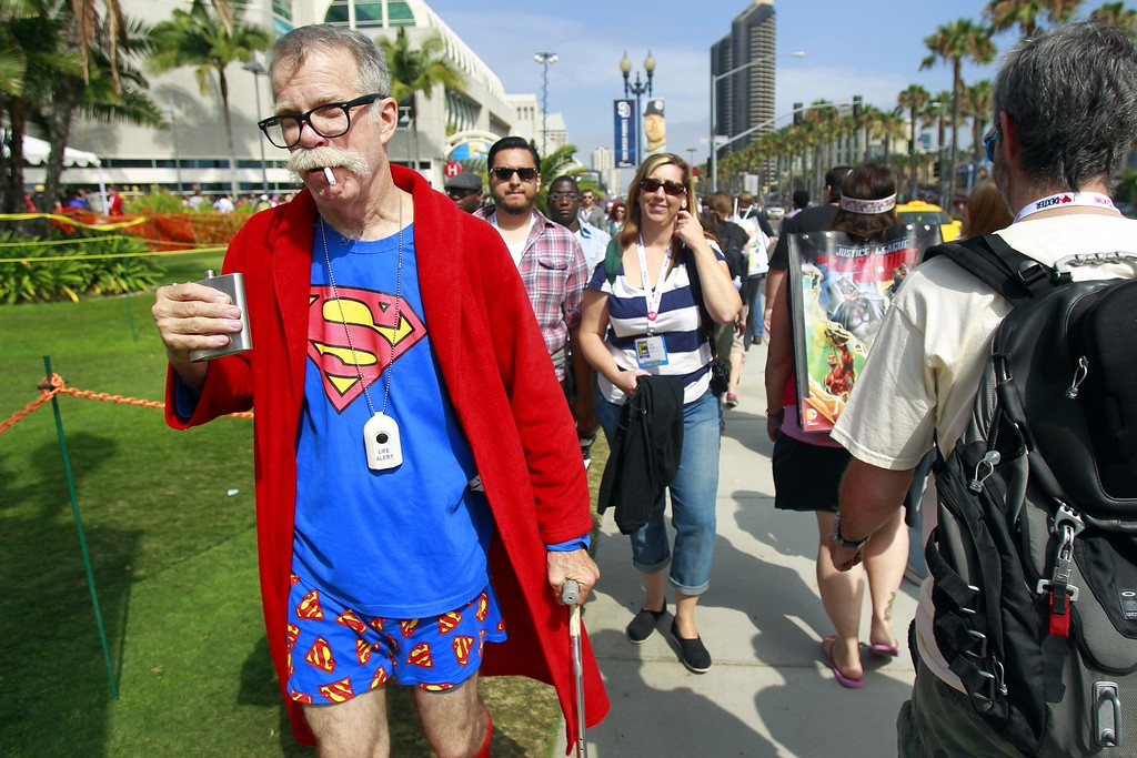 . Gary McAuley, dressed as retired Superman, attends Comic-Con, Friday, July 19, 2013, in San Diego. (AP Photo/U-T San Diego, K.C. Alfred)