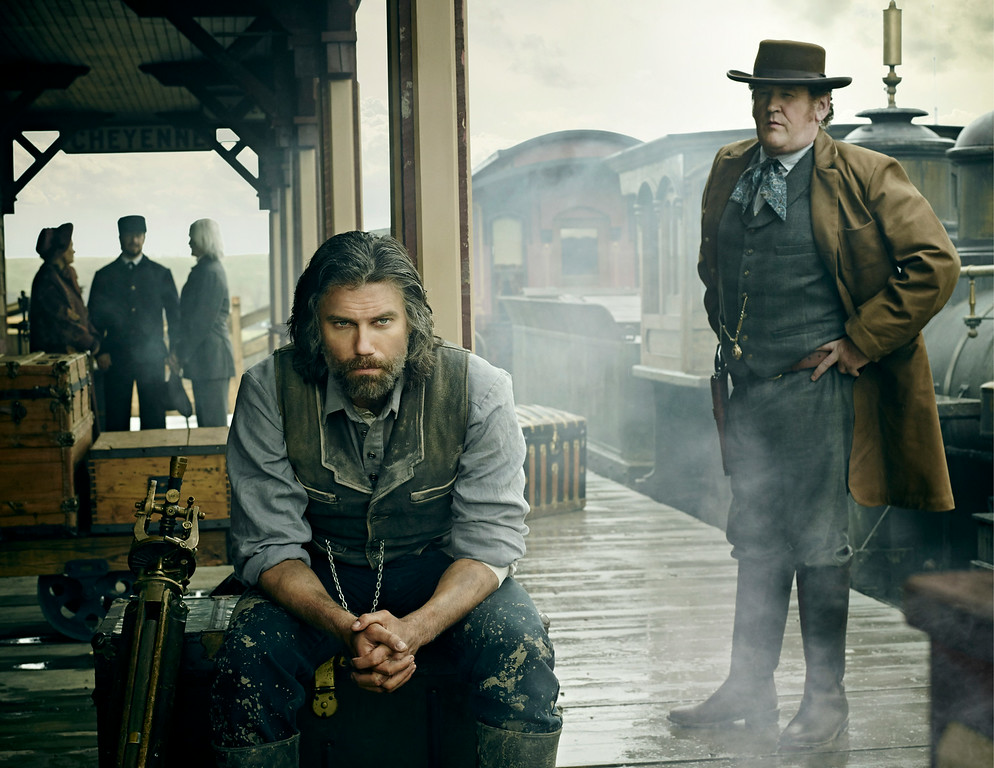 """. Anson Mount as Cullen Bohannon and Colm Meaney as Thomas \'Doc\' Durant in AMC\'s \""""Hell On Wheels\"""" Season 4. (Photo by James Minchin III/AMC)"""