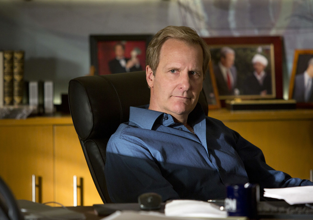 ". This undated publicity image released by HBO shows Jeff Daniels as Will McAvoy in the news drama series, ""The Newsroom.\""  Daniels was nominated for an Emmy Award for best actor in a drama series on, Thursday July 10, 2014. The 66th Primetime Emmy Awards will be presented Aug. 25 at the Nokia Theatre in Los Angeles. (AP Photo/HBO, Melissa Moseley)"