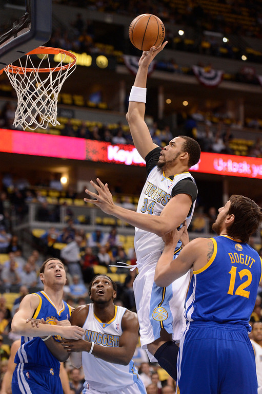 . Denver Nuggets center JaVale McGee (34) goes up for a shot in the first quarter. The Denver Nuggets took on the Golden State Warriors in Game 5 of the Western Conference First Round Series at the Pepsi Center in Denver, Colo. on April 30, 2013. (Photo by John Leyba/The Denver Post)