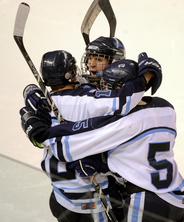 . DENVER, CO. - FEBRUARY 28: Mustangs forward Victor Lombardi (12) scored on a breakaway in the third period. Ralston Valley High School beat Monarch 5-1 Friday night, March 1, 2013 to win the Colorado hockey championship at Magness Arena in Denver. (Photo By Karl Gehring/The Denver Post)