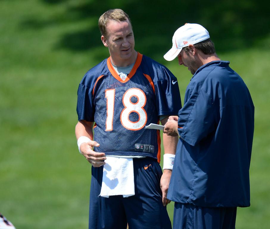 . Denver Broncos quarterback Peyton Manning (18) talks with coach Adam Gase during mini camp Thursday, June 14, 2012 at Dove Valley. John Leyba, The Denver Post