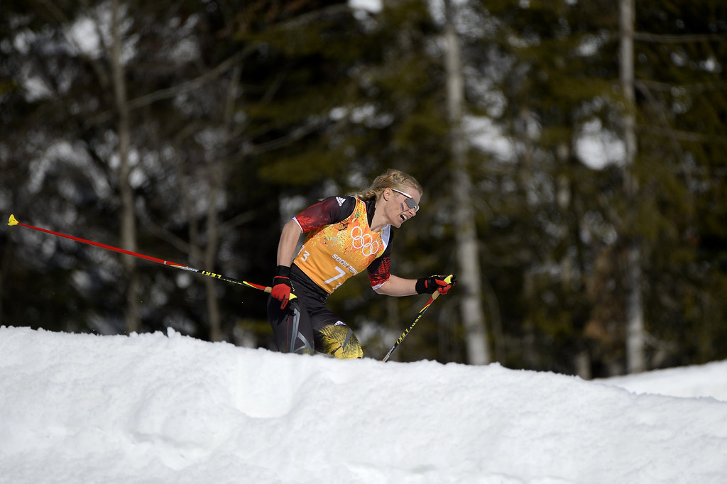 . Germany\'s Claudia Nystad competes in the Women\'s Cross-Country Skiing 4x5km Relay at the Laura Cross-Country Ski and Biathlon Center during the Sochi Winter Olympics on February 15, 2014, in Rosa Khutor, near Sochi.  PIERRE-PHILIPPE MARCOU/AFP/Getty Images