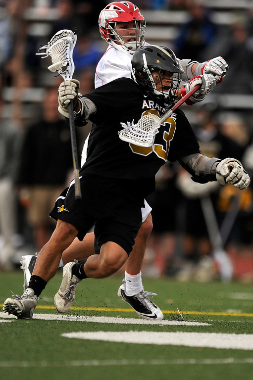 . DENVER, CO - MAY 15: Arapahoe senior midfielder Peter Neenan #33 gets hit by Regis Jesuit junior defenseman Connor Moran #4 during a CHSAA 5A boys lacrosse semifinal game on May 15, 2013, in Denver, Colorado. Arapahoe won 13-5 to advance to the finals. (Photo by Daniel Petty/The Denver Post)
