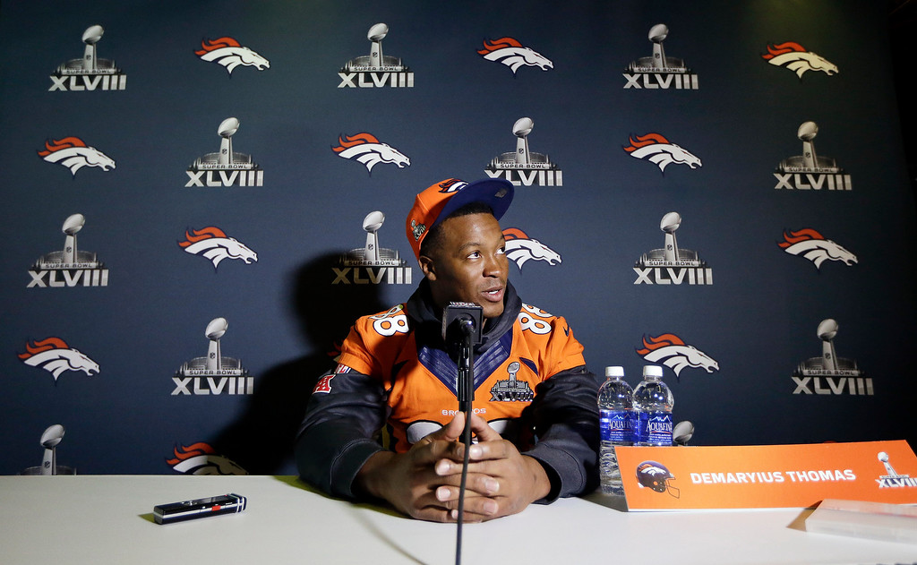 . Denver Broncos wide receiver Demaryius Thomas talks with reporters during a news conference Thursday, Jan. 30, 2014, in Jersey City, N.J. The Broncos are scheduled to play the Seattle Seahawks in the NFL Super Bowl XLVIII football game Sunday, Feb. 2, in East Rutherford, N.J. (AP Photo)