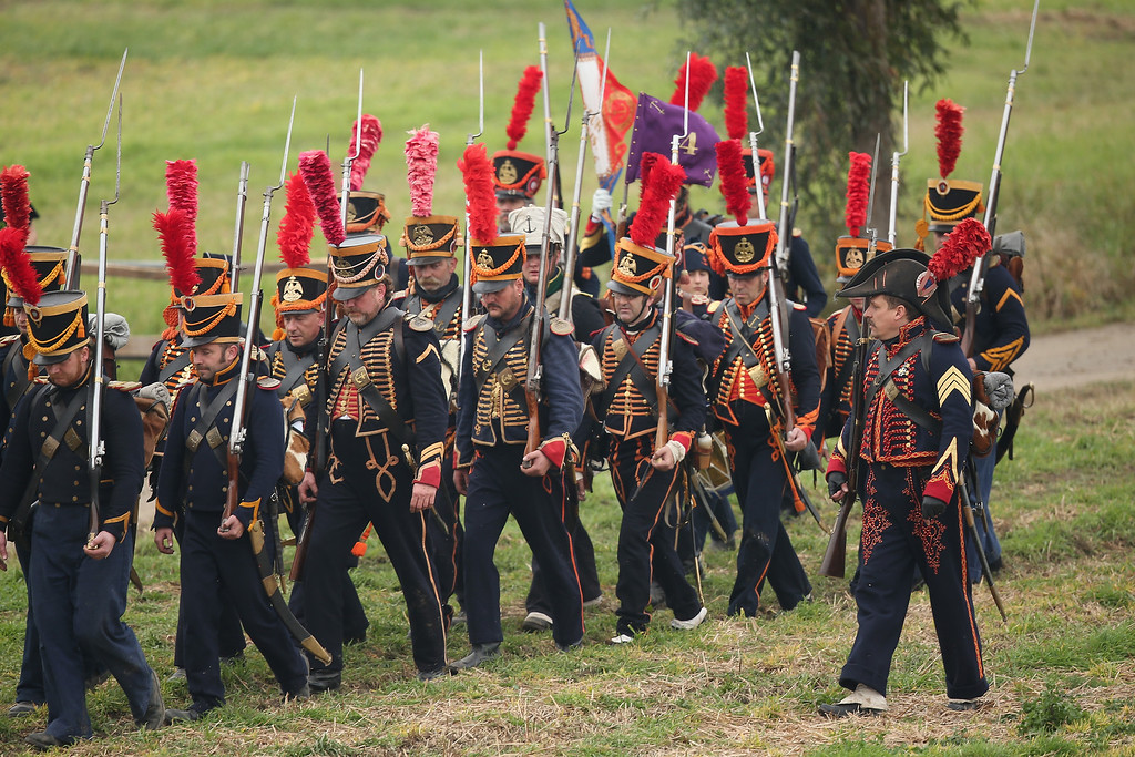 . Historical society enthusiasts in the role of French Marines fighting under Napoleon begin their attack while re-enacting The Battle of Nations on its 200th anniversary on October 20, 2013 near Leipzig, Germany.  (Photo by Sean Gallup/Getty Images)