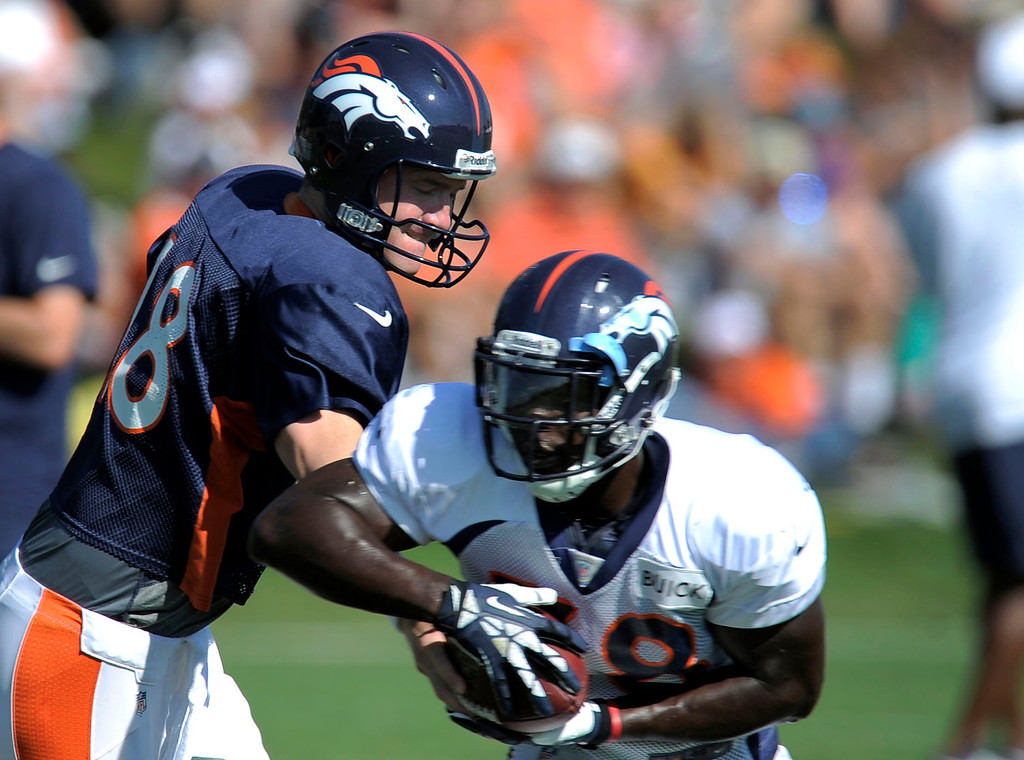 . Denver Broncos Peyton Manning (18) hands off to Montee Ball (38) during training camp August 13, 2013 at Dove Valley. (Photo By John Leyba/The Denver Post)