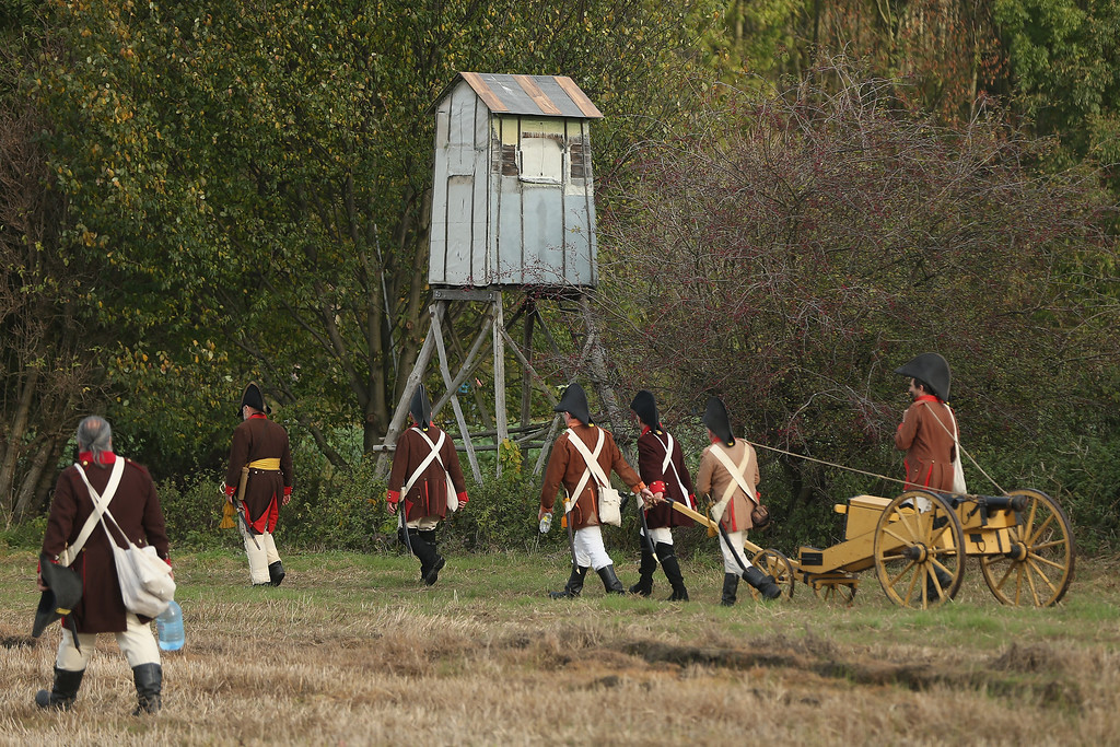 . Historical society enthusiasts from the Czech Republic in the role of Austrian artillery soldiers fighting against Napoleon arrive to re-enact The Battle of Nations on its 200th anniversary on October 20, 2013 near Leipzig, Germany.  (Photo by Sean Gallup/Getty Images)