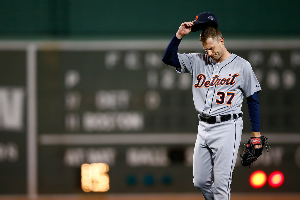 . BOSTON, MA - OCTOBER 19:  Max Scherzer #37 of the Detroit Tigers reacts in the first inning against the Boston Red Sox during Game Six of the American League Championship Series at Fenway Park on October 19, 2013 in Boston, Massachusetts.  (Photo by Jared Wickerham/Getty Images)