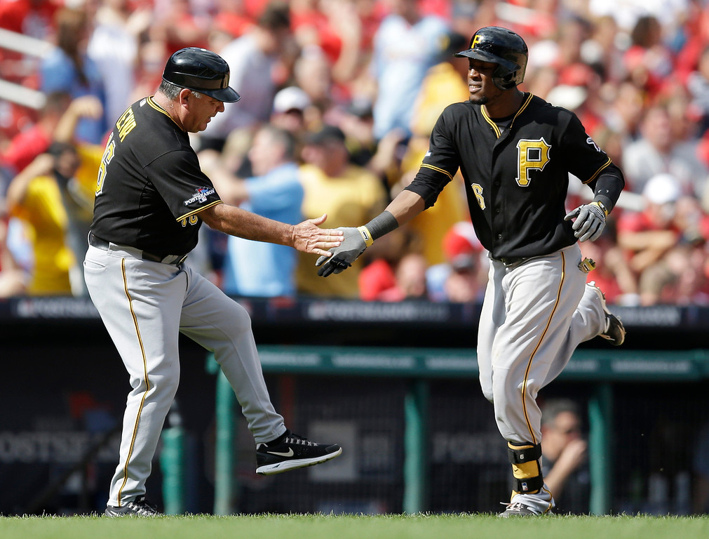 . Pittsburgh Pirates\' Starling Marte is congratulated by third base coach Nick Leyva, left, after Marte hit a solo home run against the St. Louis Cardinals in the eighth inning of Game 2 of baseball\'s National League division series on Friday, Oct. 4, 2013, in St. Louis. (AP Photo/Jeff Roberson)