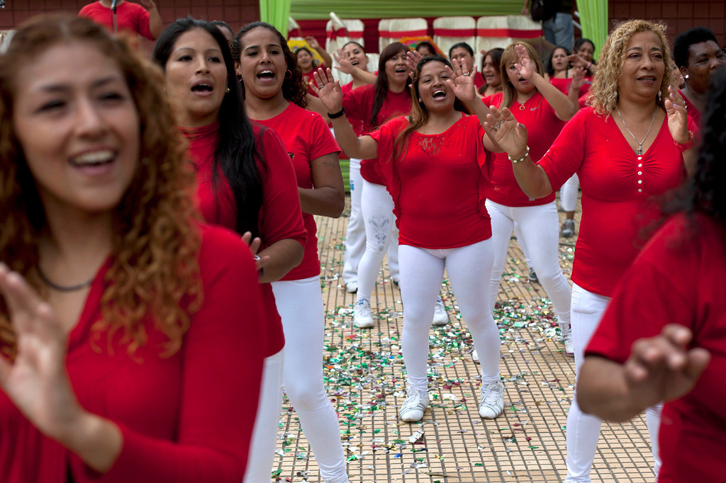 . Inmates perform at an event marking Mother\'s Day inside a prison for women in Lima, Peru, Friday, May 10, 2013. Peru celebrates Mother\'s Day every May 10. (AP Photo/Martin Mejia)