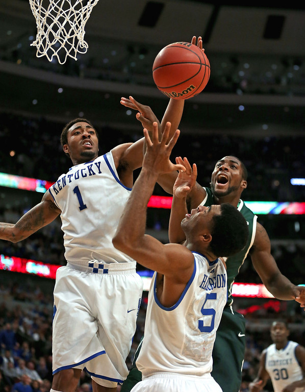 . James Young The lefty forward from Kentucky could use some work on the defensive end and with his right hand, but his 7-foot wingspan and energy level may give the Nuggets an athletic player who can be developed. Branden Dawson #22 of the Michigan State Spartans battles for the ball with James Young #1 and Andrew Harrison #5 of the Kentucky Wildcats during the State Farm Champions Classic at the United Center on November 12, 2013 in Chicago, Illinois. Michigan State defeated Kentucky 78-74. (Photo by Jonathan Daniel/Getty Images)