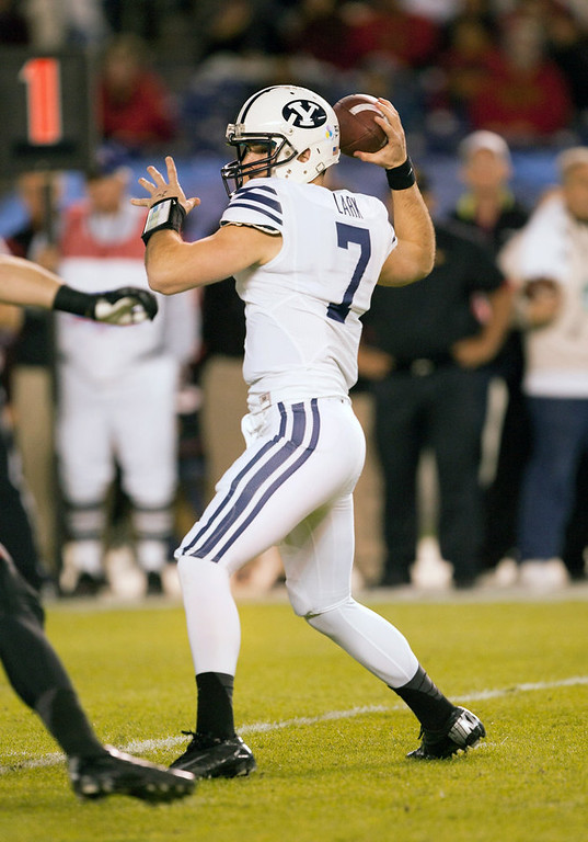 . James Lark #7 of the BYU Cougars passes the ball in the first half of the game against the San Diego State Aztecs in the Poinsettia Bowl at Qualcomm Stadium on December 20, 2012 in San Diego, California. (Photo by Kent C. Horner/Getty Images)