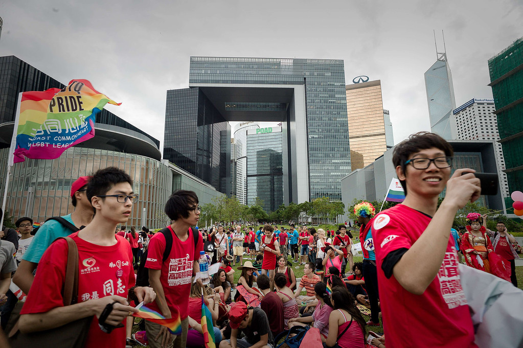 . Participants march past the government buildings (C) during the gay pride parade in Hong Kong on November 9, 2013. Despite its reputation as an international financial hub, critics say Hong Kong remains a conservative city when it comes to gay rights, lacking protection for the sexual minority group despite having decriminalised homosexuality in 1991. PHILIPPE LOPEZ/AFP/Getty Images