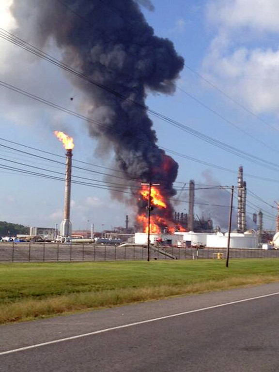 . This photo provided by Ryan Meador shows an explosion at The Williams Companies Inc. plant in the Ascension Parish town of Geismar La., Thursday, June 13, 2013. The fire broke out Thursday morning at the plant, which the company\'s website says puts out about 1.3 billion pounds of ethylene and 90 million pounds of polymer grade propylene a year. (AP Photo/Ryan Meador)