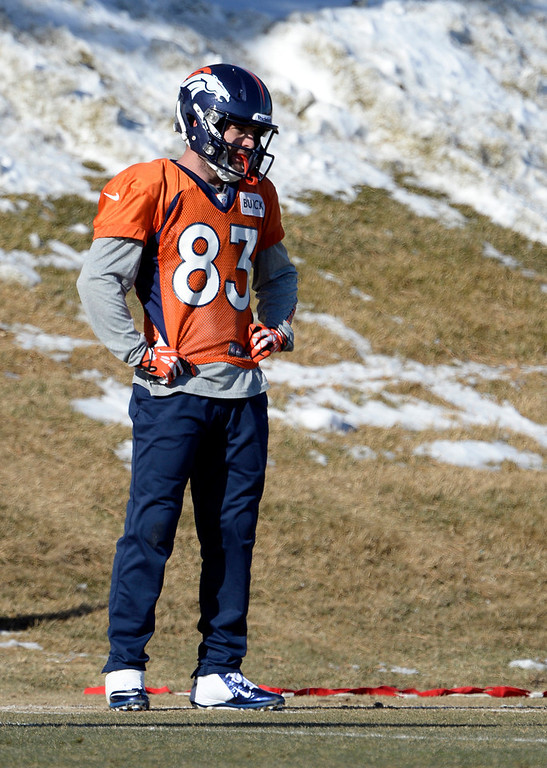 . Denver Broncos wide receiver Wes Welker (83) looks on during drills at practice January 8, 2014 at Dove Valley. The Denver Broncos are preparing for their Divisional Game against the San Diego Chargers at Sports Authority Field. (Photo by John Leyba/The Denver Post)