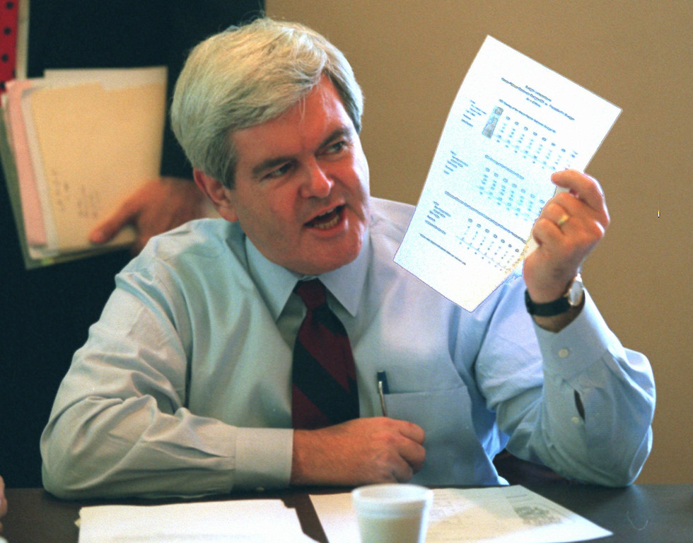 . House Speaker Newt Gingrich holds a sheet of budget figures on Capitol Hill Wednesday, Nov. 15, 1995, during a meeting to discuss the federal budget impasse. Hundreds of thousands of government workers got another day off Wednesday as President Clinton and the Republican Congress remained at odds over budget priorities. (AP Photo/Joe Marquette)