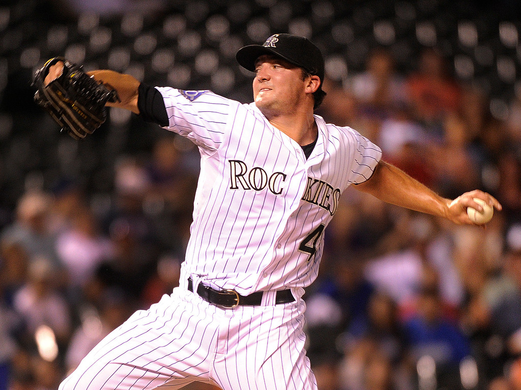 . DENVER, CO. - SEPTEMBER 4: Rox Brothers got the save pitching the ninth inning with a two-run lead. The Colorado Rockies defeated the Los Angeles Dodgers 7-5 at Coors Field Wednesday night, September 4, 2013.  Photo By Karl Gehring/The Denver Post