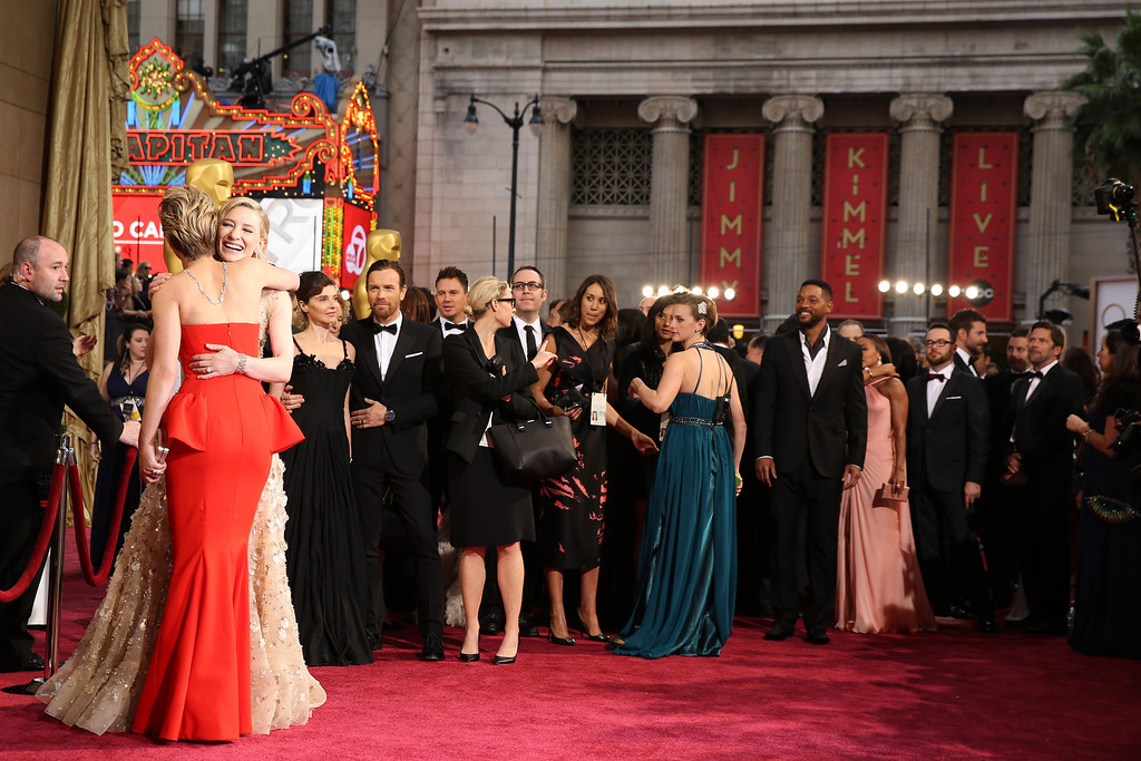 . Jennifer Lawrence, left, and Cate Blanchett arrive at the Oscars on Sunday, March 2, 2014, at the Dolby Theatre in Los Angeles.  (Photo by Matt Sayles/Invision/AP)