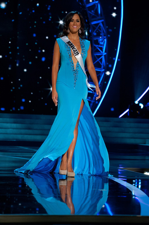 . This photo provided by the Miss Universe Organization, Miss Hawaii USA 2013, Brianna Acosta competes in her evening gown during the 2013 Miss USA Competition Preliminary Show  in Las Vegas  on Wednesday June 12, 2013.  She will compete for the title of Miss USA 2013 and the coveted Miss USA Diamond Nexus Crown on June 16, 2013.  (AP Photo/Miss Universe Organization, Patrick Prather)