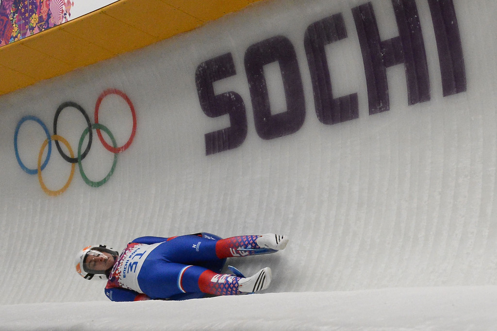 . France\'s Morgane Bonnefoy competes during the Women\'s Luge Singles run two at the Sliding Center Sanki during the Sochi Winter Olympics on February 10, 2014.   AFP PHOTO / LIONEL  BONAVENTURE/AFP/Getty Images