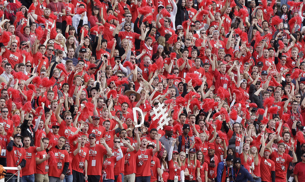 . Utah fans cheer during the first half of an NCAA college football game against Stanford on Saturday, Oct. 12, 2013, in Salt Lake City. Utah won 27-21. (AP Photo/Rick Bowmer)