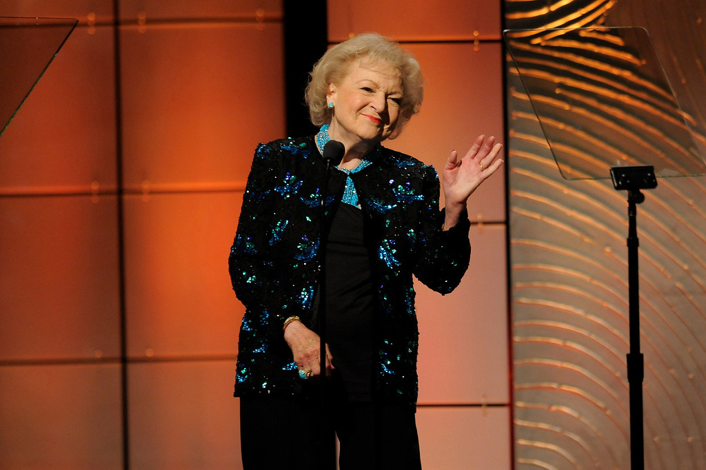 . Betty White presents the lifetime achievement award at the 40th Annual Daytime Emmy Awards on Sunday, June 16, 2013, in Beverly Hills, Calif. (Photo by Chris Pizzello/Invision/AP)
