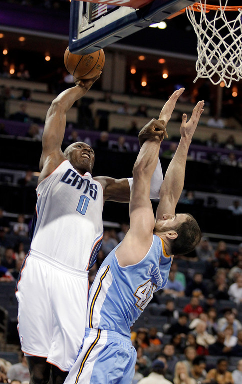 . Charlotte Bobcats\' Bismack Biyombo (0) muscles Denver Nuggets\' Kosta Koufos (41) out of the way as he prepares to shoot during the first half of an NBA basketball game in Charlotte, N.C., Saturday, Feb. 23, 2013. (AP Photo/Bob Leverone)