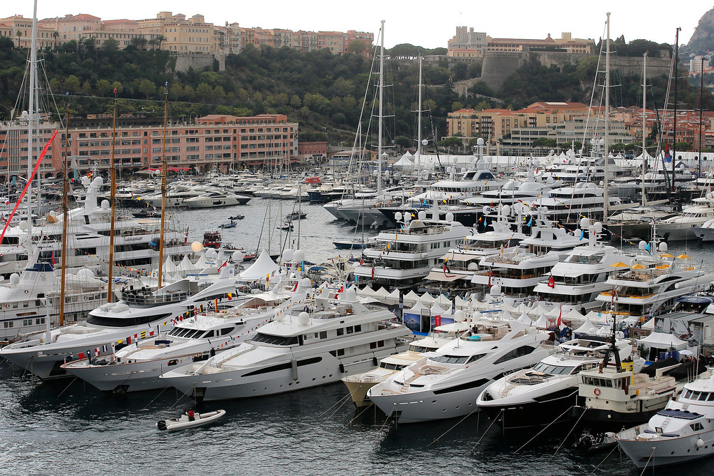 . Yachts are showing at the 24th edition of the Monaco Yacht Show, Wednesday, Sept. 25, 2013, in Monaco.The Monaco Yacht Show, taking place at Port Hercules in Monaco, is the only boat show devoted exclusively to luxury yachting. (AP Photo/Lionel Cironneau)