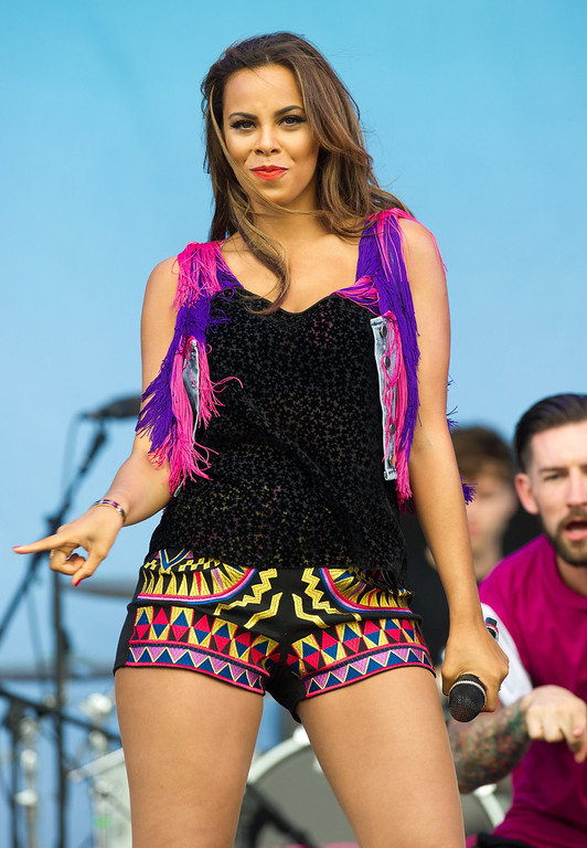 . Rochelle Humes of The Saturdays performs on day 2 of the V Festival at Hylands Park on August 18, 2013 in Chelmsford, England. (Photo by Rob Harrison/Getty Images)
