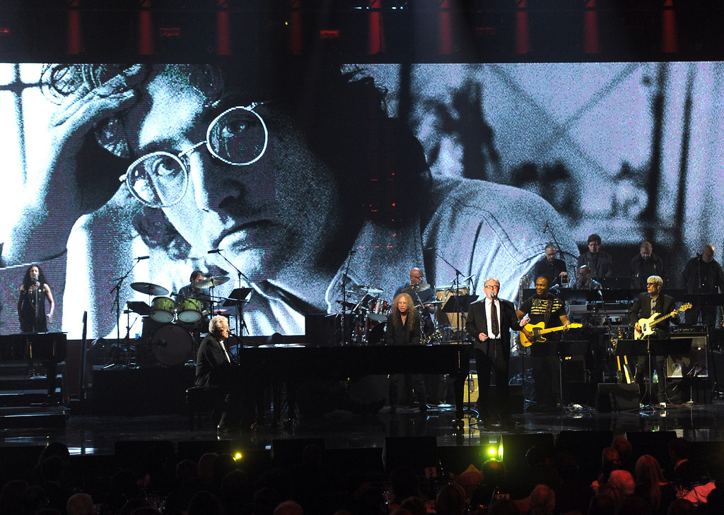 . Inductee Randy Newman and musician Don Henley perform onstage at the 28th Annual Rock and Roll Hall of Fame Induction Ceremony at Nokia Theatre L.A. Live on April 18, 2013 in Los Angeles, California.  (Photo by Kevin Winter/Getty Images)