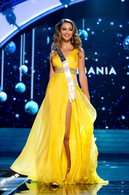 . Miss Albania Adrola Dushi competes in an evening gown of her choice during the Evening Gown Competition of the 2012 Miss Universe Presentation Show at PH Live in Las Vegas, Nevada December 13, 2012. The 89 Miss Universe Contestants will compete for the Diamond Nexus Crown on December 19, 2012. REUTERS/Darren Decker/Miss Universe Organization/Handout