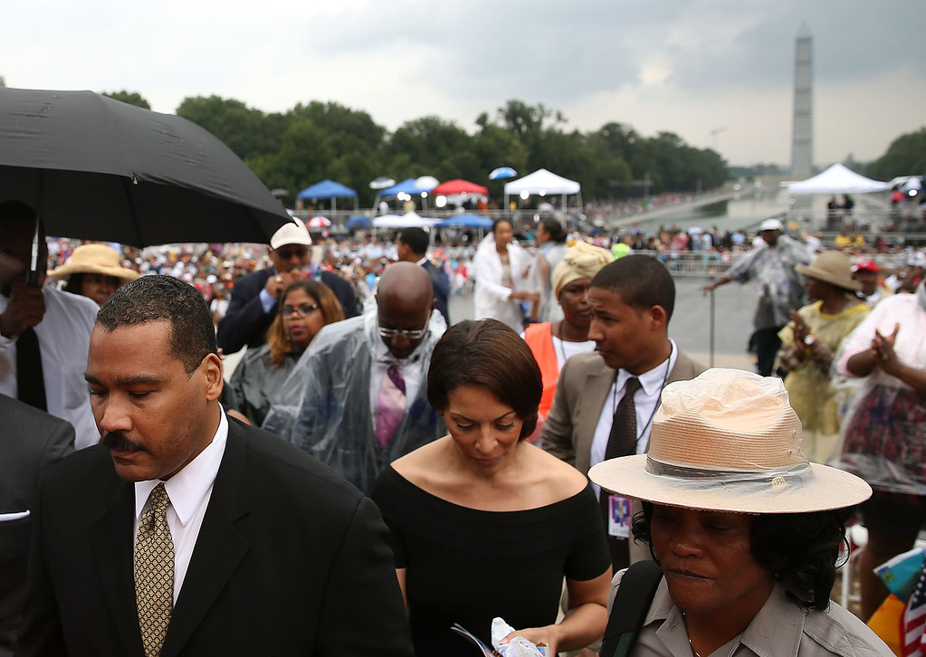 ". Dexter Scott King (L), son of Martin Luther King, Jr., attends the ceremony to commemorate the 50th anniversary of the March on Washington for Jobs and Freedom August 28, 2013 in Washington, DC. It was 50 years ago today that Martin Luther King, Jr. delivered his ""I Have A Dream Speech\"" on the steps of the Lincoln Memorial.  (Photo by Mark Wilson/Getty Images)"