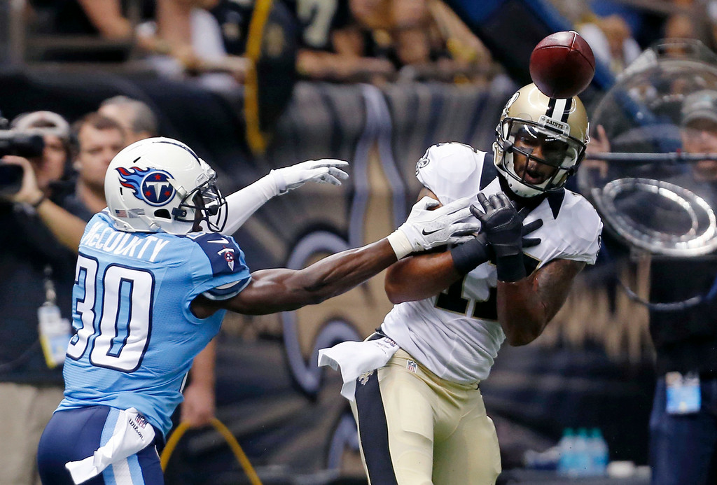 . Robert Meachem, WR, New Orleans Saints Meachem, a former first-round draft pick, caught 157 passes for 2,593 yards and 25 touchdowns in his six seasons with the Saints. Tennessee Titans cornerback Jason McCourty (30) breaks up a pass intended for New Orleans Saints wide receiver Robert Meachem (17) in the first half of an NFL football game in New Orleans, Friday, Aug. 15, 2014. (AP Photo/Rogelio Solis)