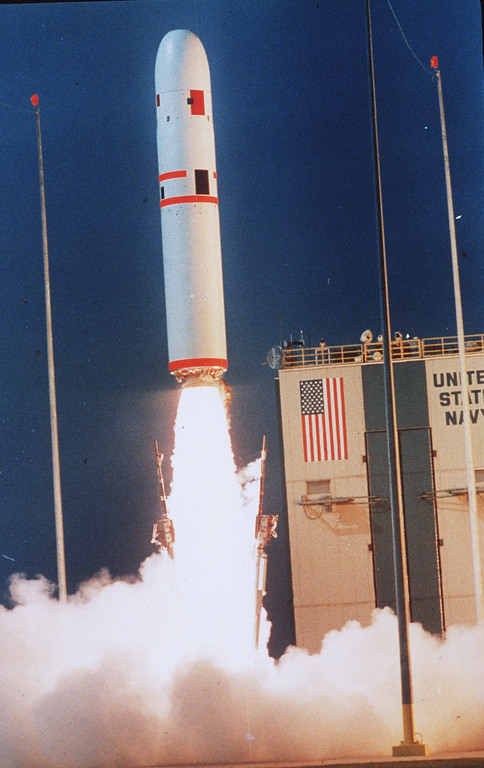 . A Trident II rocket lifts off from Cape Canaveral Air Force Station April 29, 1987 in the third straight successful launch of the U.S. Navy\'s most powerful weapon. The Trident system was put into operation in 1989 and has the capability of carrying 10 nuclear warheads.  (AP photo/Phil Sandlin)