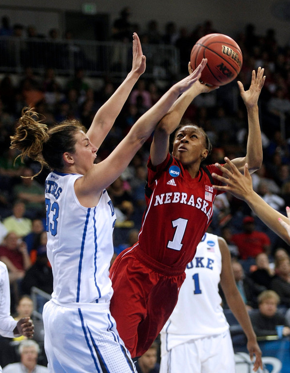 . Nebraska guard Tear\'a Laudermill (1) shoots against Duke guard Haley Peters (33) during a regional semifinal game of the women\'s NCAA college basketball tournament Sunday, March 31, 2013, in Norfolk, Va.  (AP Photo/Jason Hirschfeld)