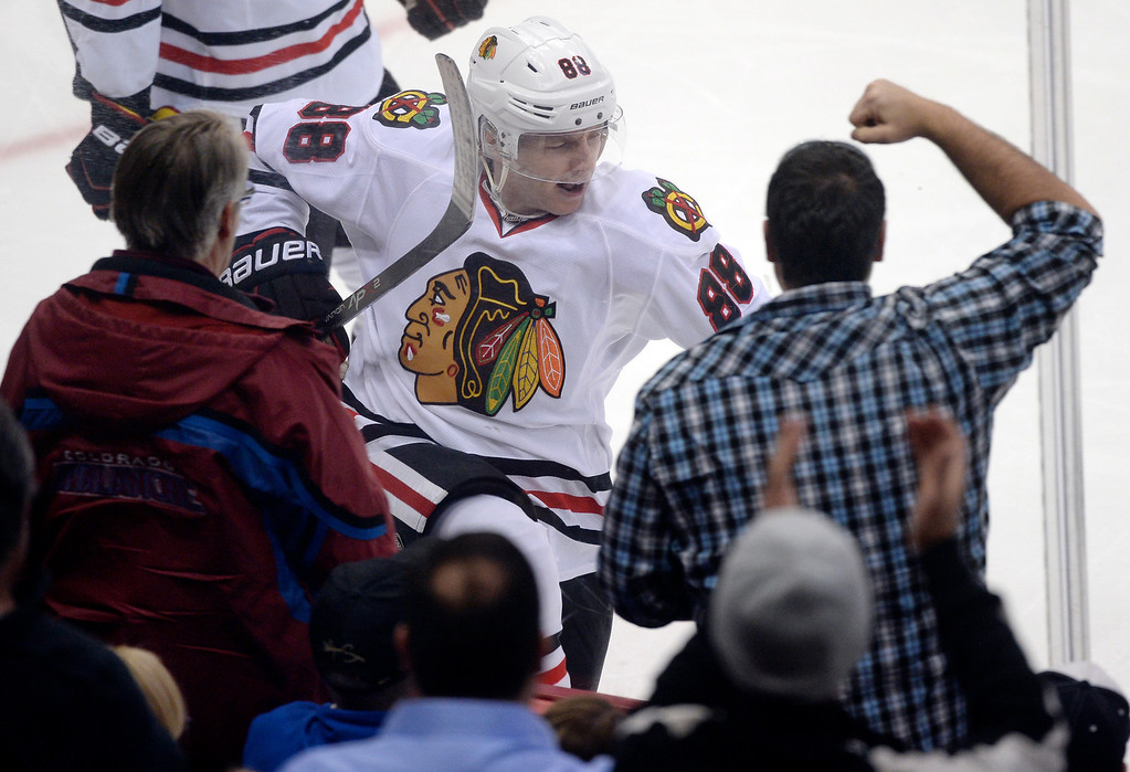 . Chicago wing Patrick Kane (88) celebrated his goal in the second period.  (Photo by Karl Gehring/The Denver Post)