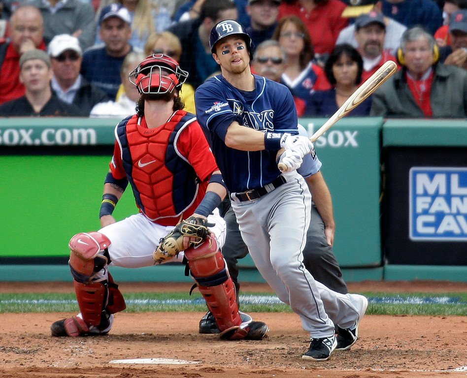 . Tampa Bay Rays\' Ben Zobrist watches his home run in front of Boston Red Sox catcher Jarrod Saltalamacchia during the fourth inning of Game 1 of baseball\'s American League division series, Friday, Oct. 4, 2013, in Boston. (AP Photo/Stephan Savoia)