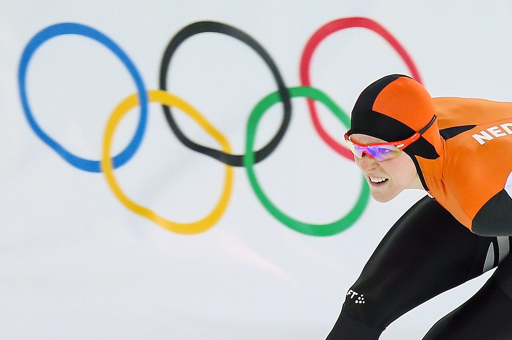 . Gold medalist Jorien ter Mors of the Netherlands in action during the women\'s 1500m Speed Skating event in the Adler Arena at the Sochi 2014 Olympic Games, Sochi, Russia on Feb. 16, 2014.  EPA/HANNIBAL HANSCHKE