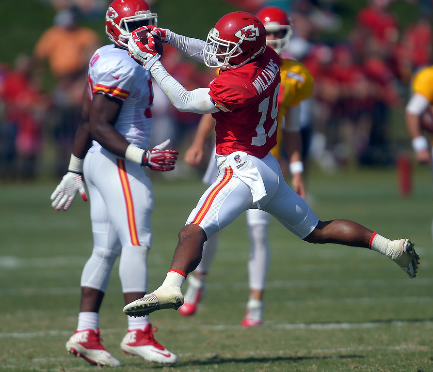 . Kansas City Chiefs wide receiver Kyle Williams (19) grabs a pass during a drill at an NFL football training camp Monday, July 28, 2014, on the Missouri Western State University campus in St. Joseph, Mo. (AP Photo/The St. Joseph News-Press, Todd Weddle)