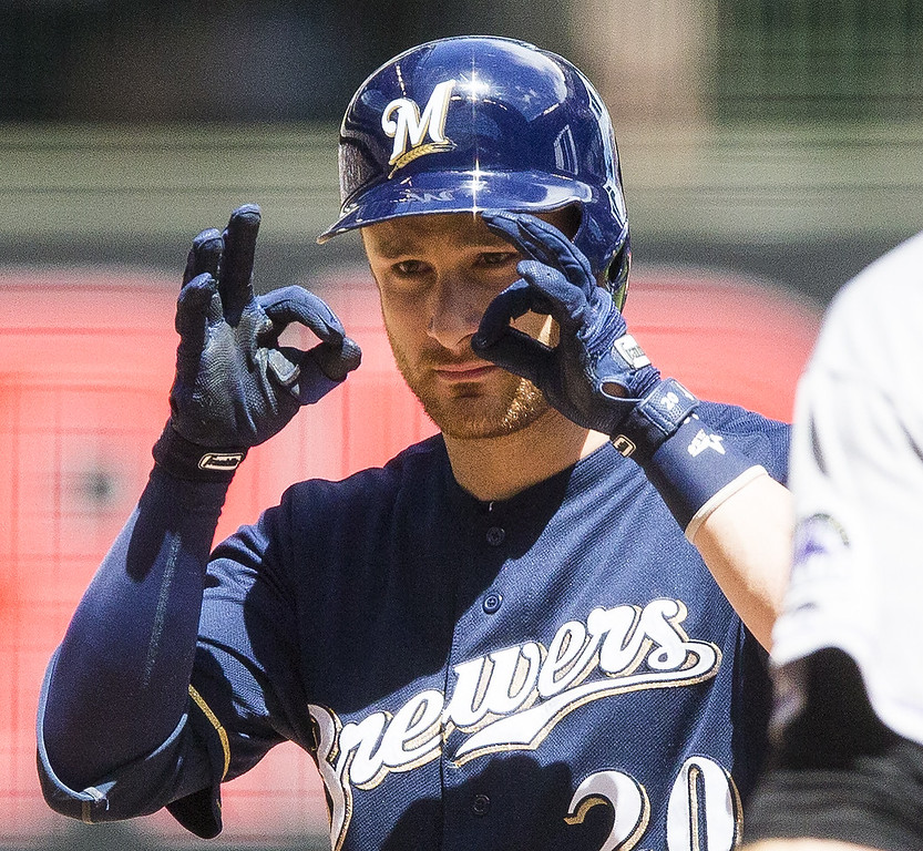 . Jonathon Lucroy #20 of the Milwaukee Brewers flashes the google signal after hitting a double against the Colorado Rockies at Miller Park on June 29, 2014 in Milwaukee, Wisconsin.  (Photo by Tom Lynn/Getty Images)